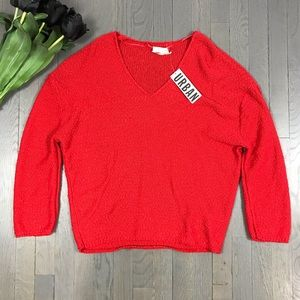 NWT Urban Outfitters V Neck Red Boyfriend Sweater